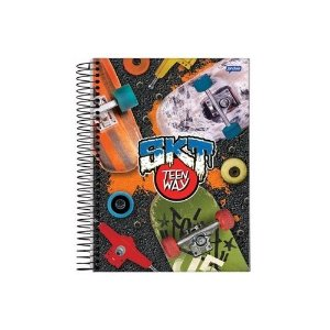 Caderno Espiral Universitário Capa Dura Sortida Jandaia Teen Way 20cm x 27cm 15 Matérias 300 Folhas R.59361 Unidade