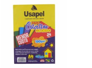 Papel Especial Criativo Usapel Colorido com 8 Cores 120g/m² A4 210x297 mm Com 24 folhas