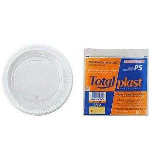 Prato Plástico Descartável Totalplast Branco 21cm Pacote Com 10