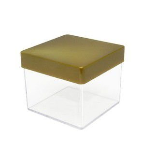 Caixa Acrílica Transparente + Tampa Dourada 5cm x 5cm Pacote Com 10