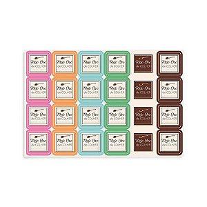 Cartela Com 48 Etiquetas Adesivas Meio Ovo de Colher Cores Diversas