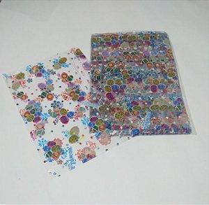 Saco Transparente Decorado Páscoa Colorida 15cm x 22cm Pacote Com 50