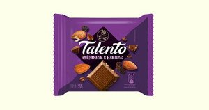 Chocolate Garoto Talento Tablete Amêndoas e Passas 90 Gramas Unidade