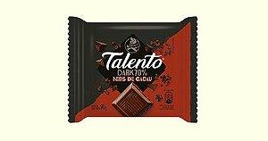 Chocolate Amargo 70% de Cacau Garoto Talento Tablete Com Nibs de Cacau 75 Gramas Unidade