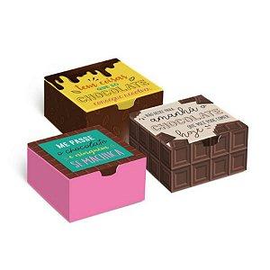 Caixinha de Papel Para Brigadeiros Docinhos Chocolates e Bombons Cromus Estampa Sortida 12cm X 8cm X 3,5cm Unidade