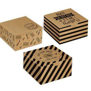 Caixinha Kraft Para Brigadeiros Docinhos Chocolates e Bombons Cromus Estampa Sortida 12cm X 8cm X 3,5cm Unidade