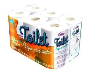 Papel Higiênico Folhas Duplas Toilet Com 12 Rolos de 30 Metros