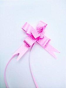 Laço Fácil Fantasia Rosa Com Bolinhas Brancas 18mm (1,8cm x 34cm) R.2541107 Unidade