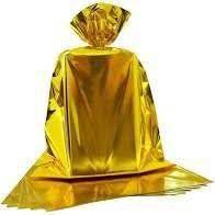 Saco Metalizado para Presente Dourado 60cm x 90cm Unidade