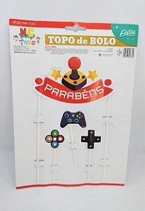 Topo De Bolo Nc Toys Game - Parabéns Composto 1 Topo Principal 24cm + Decorações Menores 10cm R.966