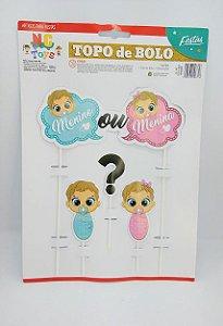 Topo De Bolo Nc Toys Revelação - Menino ou Menina Composto por 1 Topo Principal 24cm + 3 Decorações Menores 10cm R.967