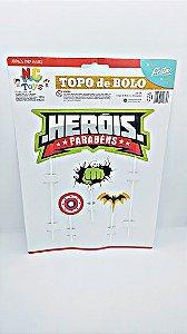 Topo De Bolo Nc Toys Heróis - Parabéns Composto 1 Topo Principal 24cm + 3 Decorações Menores 10cm R.9610