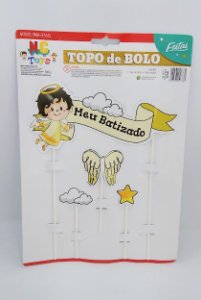 Topo de Bolo Nc Toys Meu Batizado Composto por 1 Topo Principal 24cm + 3 Decorações Menores 10cm R.9617