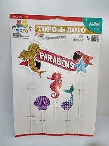 Topo De Bolo Nc Toys Sereia - Parabéns Composto por 1 Topo Principal 24cm + Decorações Menores 10cm R.9618