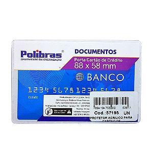 Porta Documento Em Acrílico Transparente Cartão de Crédito 8,8cm x 5,8cm R.063817 Unidade