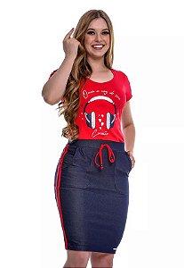 Conjunto em Malha e Saia em Malha Jeans Vermelho Any Rafaela 49223 Hapuk
