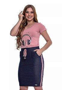 Conjunto em Malha e Saia em Malha Jeans Rose Any Rafaela 49223 Hapuk