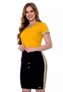 Vestido Quesia Amarelo 60668 Hapuk - Moda Evangélica
