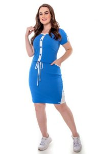 Vestido de malha canelada com botões 50766 Hadaza