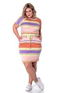 Vestido malha listrado com cordão para amarração 50818 Hadaza