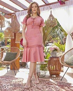 Vestido peplum em lasie floral cordão com ponteiras 3.00026 Fascínius