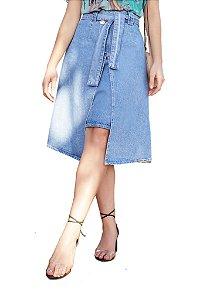 Saia Jeans com sobreposição transpasse 015515 Fascínius