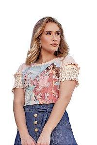 T-shirt com guipir em desenho geométrico e floral nas mangas Salmão Fascínius 100056
