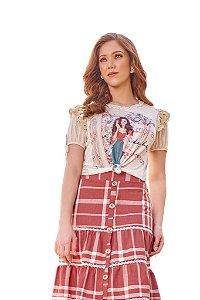 T-shirt mix de malha lisa e canelada estampa localizada 1.00069 Fascínius