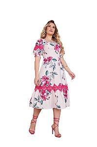 Vestido midi com estampa floral amarração nas costas Fascínius 3.00052