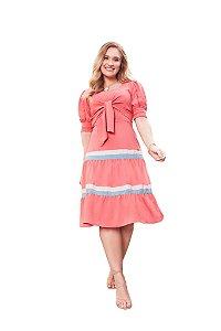 Vestido sobreposição alça em crepe duo colors modelagem evasê Coral Fascínius 300067