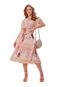 Vestido estampa em listras geométricos e floral plissado Salmão Fascínius 300091