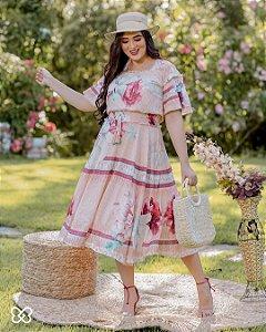 Vestido godê com estampa localizada mix de florais e listras Salmão Fascínius 300094