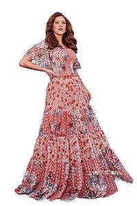 Vestido longo em tule poá estampa geométrica floral exclusiva Fascínius 300099