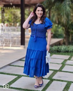 Vestido midi viscose bordado ponto sobreposto multicolors Azul 300111 Fascínius