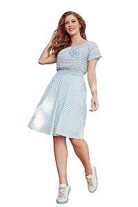 Vestido em malha padronagem xadrez modelagem godê Fascínius Azul 300112
