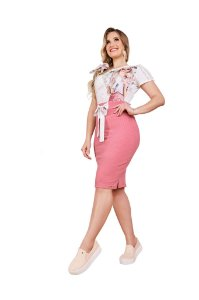 Conjunto blusa estampada saia de malha canelada Fascínius 400017