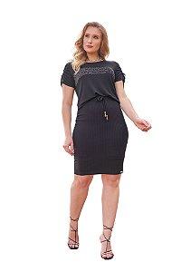 Conjunto blusa com aplicação de strass saia de malha canelada Fascínius 400027