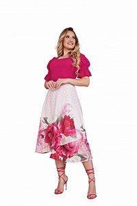 Conjunto blusa de lastex saia estampa floral Fascínius 400046