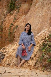 Vestido midi em tricoline Petrolina 155 Valentina Sirrah
