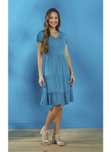 Vestido em Crepe sunset Azul Tiffany Tatá Martello Dora 8166