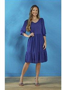 Vestido em viscose, manga 3/4 Azul Marinho Tata Martello Talita 8173