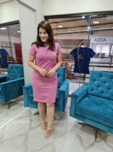 Vestido Polo Rosa com azul marinho Kathlyn Rafaela 110023