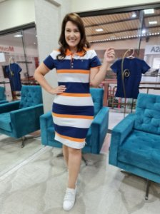 Vestido Polo Laranja com azul marinho Kathlyn Rafaela 110024