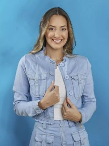 Jaqueta Tatá Martello Jeans Colors Azul 1538