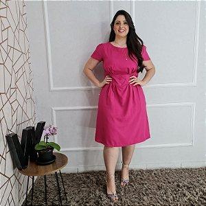 Vestido em oxfordini e recortes na cintura com botões Rosa  175 Valentina Sirrah