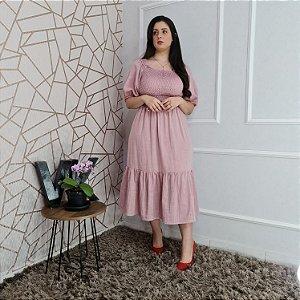 Vestido max midi em algodão, lastex no corpo Pajuçara Rosa 190 Valentina Sirrah