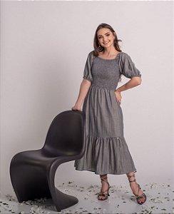 Vestido max midi em algodão, lastex no corpo Pajuçara Preto 190 Valentina Sirrah