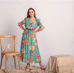 Vestido  max midi em viscose Aracaju 180 Valentina Sirrah