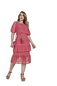 Vestido em renda leve e delicada com guipir nas barras 3.00035 Fascínius