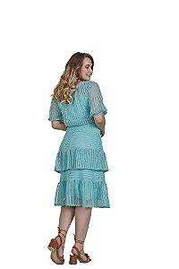 Vestido em renda leve e delicada com guipir nas barras Verde 3.00035 Fascínius